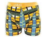 H223-30026 2-pack Heren Boxershort blokprint Geel/Grijs _