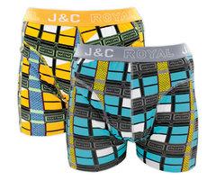 H223-30026 2-pack Heren Boxershort blokprint Geel/Grijs
