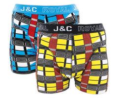 H223-30024 2-pack Heren Boxershort blokprint Zwart/Blauw