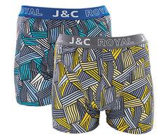 H233-30046 2-pack Heren Boxershort streep Blauw/Grijs