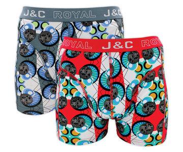 H222-30023 2-pack Heren Boxershort Grijs/Rood