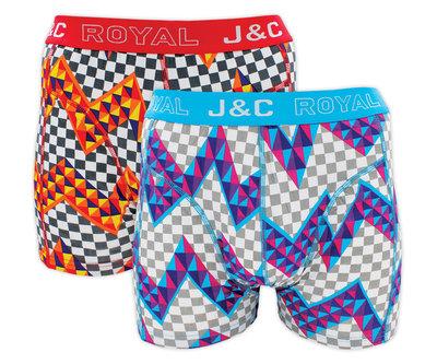 H224-30028 2-pack Heren Boxershort zigzag Rood/L Blauw
