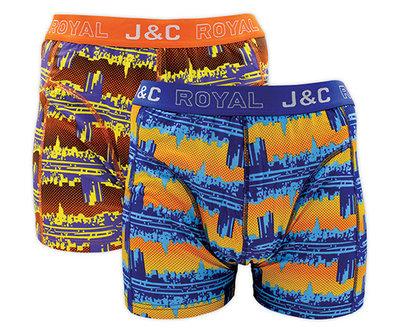 H225-30029 2-pack Heren Boxershort Oranje/Blauw