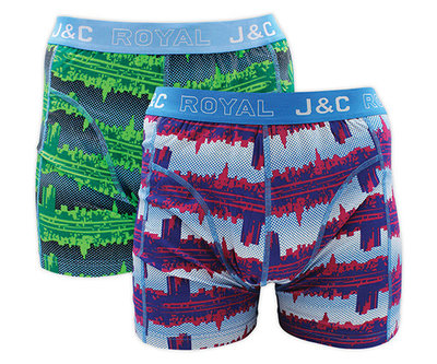 H225-30030 2-pack Heren Boxershort Groen/Blauw