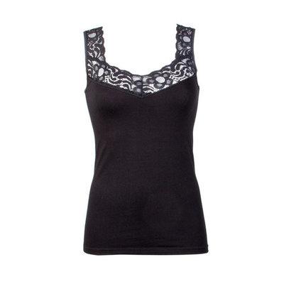 Dames hemd van elastisch katoen met luxe kant zwart