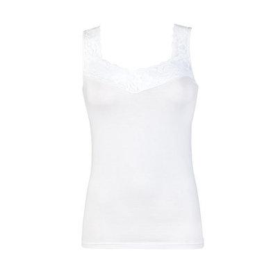 Dames hemd van elastisch katoen met luxe kant wit
