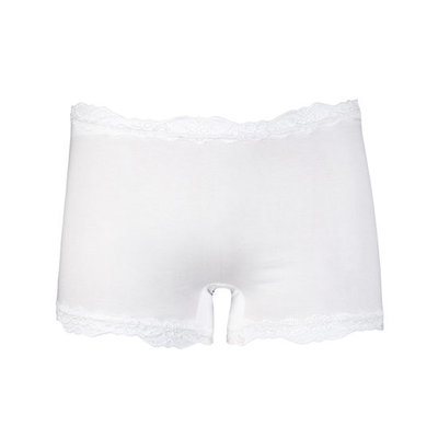 Dames boxershort van elastisch katoen met luxe kant wit
