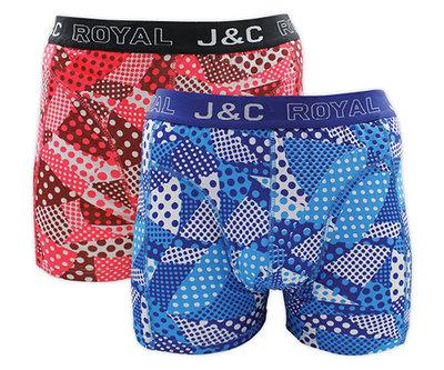 H230-30039 2-pack Heren Boxershort stip Blauw/Rood