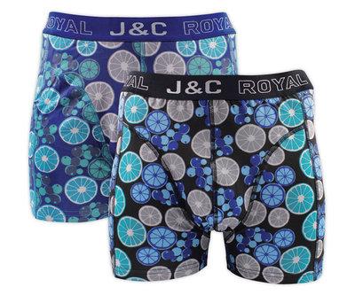 H237-30053 2-pack Heren Boxershort Limoentjes Petrol/Blauw