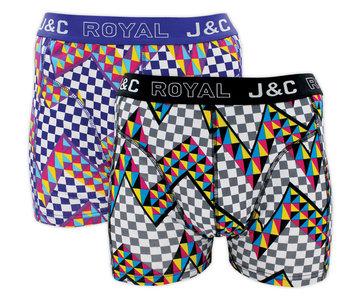 H224-30027 2-pack Heren Boxershort zigzag Paars/Zwart