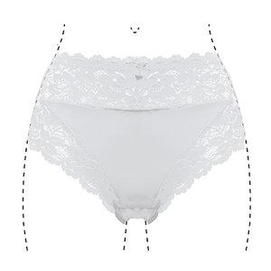 805 Dames tailleslip met kant Wit